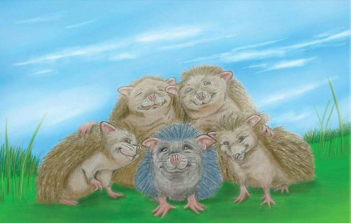 Herbert the Hedgehog family picture outside drawing